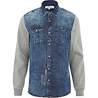 Mid wash jersey sleeve denim shirt