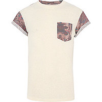 Ecru floral print colour block t-shirt