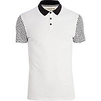 White ditsy print sleeve polo shirt