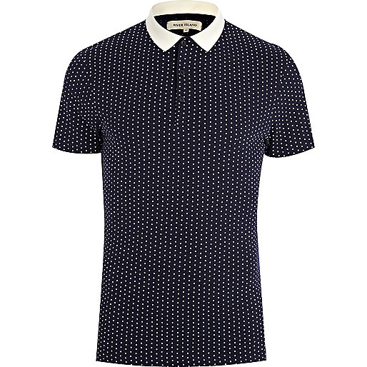 Navy polka dot contrast collar polo shirt