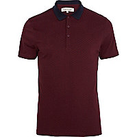 Red polka dot contrast collar polo shirt