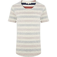 Red marl reverse stripe t-shirt