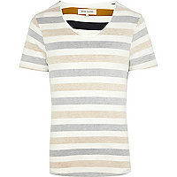 Brown reverse stripe low scoop t-shirt
