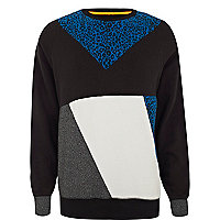 Blue leopard print colour block sweatshirt