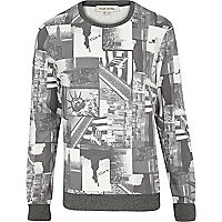 Grey NYC photo collage print sweatshirt