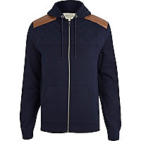 Navy quilted yoke shoulder patch hoodie