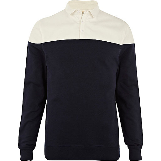 Navy 2 in 1 sliced shirt sweatshirt