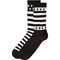 Black stars and stripes boot socks pack