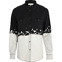 Black bleached dip dye denim shirt