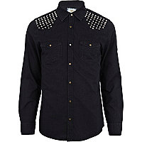 Black stud shoulder denim shirt