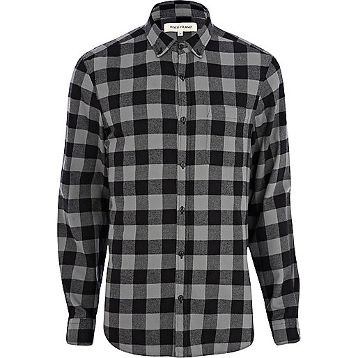 Grey and black check flannel shirt