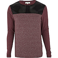 Red colour block long sleeve t-shirt