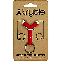 Red headphone splitter key ring