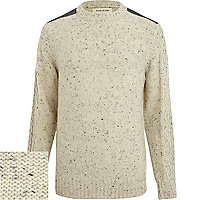 Ecru fleck cable sleeve jumper