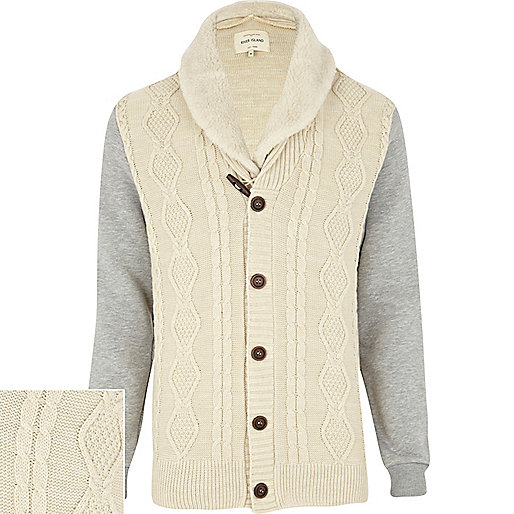 Ecru cable knit duffle cardigan