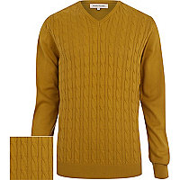 Mustard yellow cable knit lightweight jumper