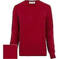 Red cable knit lightweight jumper