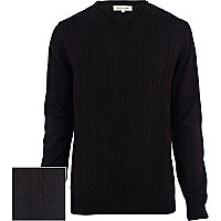 Black cable knit lightweight V neck jumper