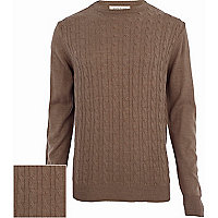 Brown cable knit lightweight jumper