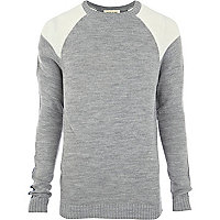 Grey colour block raglan sleeve jumper