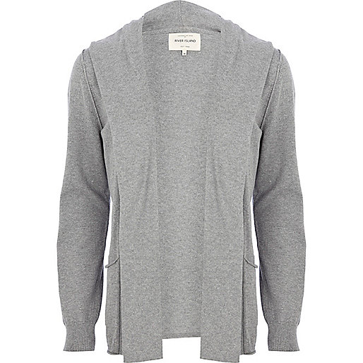 Light grey hooded cardigan