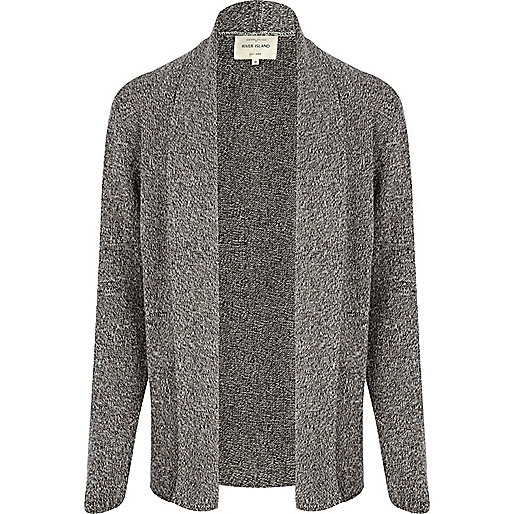 Dark grey twist unfastened cardigan
