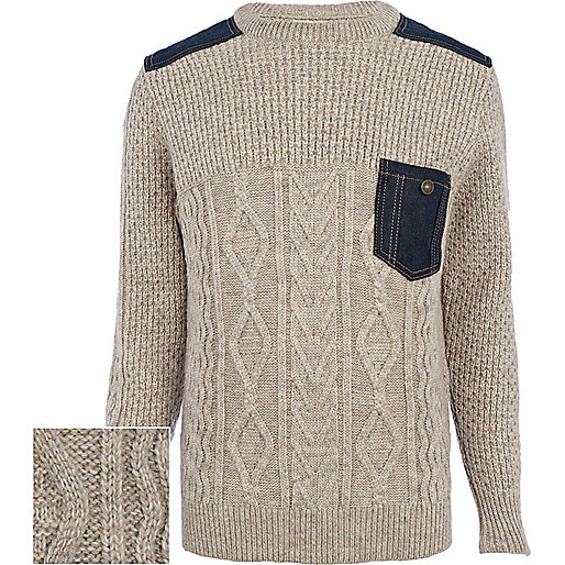 Ecru cable knit denim patch jumper