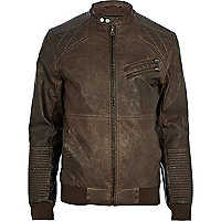 Dark brown quilted panel biker jacket