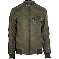 Green quilted panel biker jacket