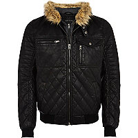 Black leather-look quilted bomber jacket