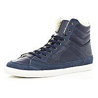 Navy borg lined high tops