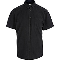 Black short sleeve denim shirt