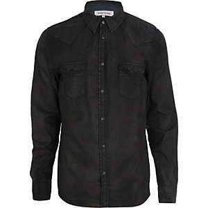 Black coated long sleeve denim shirt
