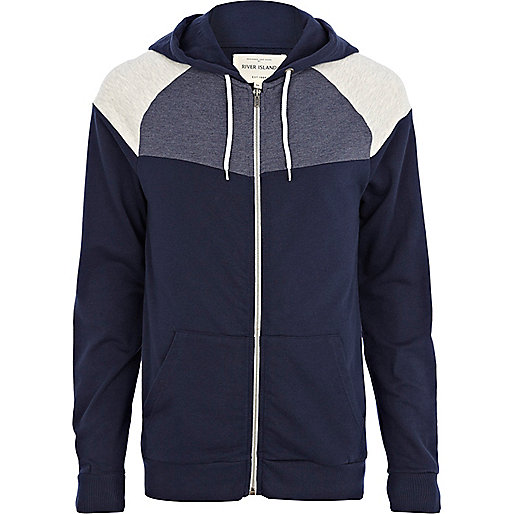 Navy contrast colour block yoke hoodie