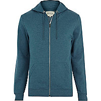 Blue marl zip through hoodie
