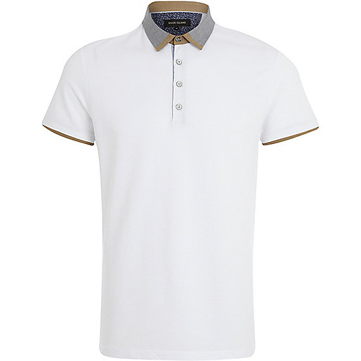White contrast trim collar polo shirt