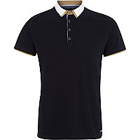 Navy contrast trim collar polo shirt