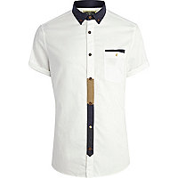 White Holloway Road contrast placket shirt