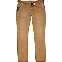 Brown Holloway Road distressed slim chinos