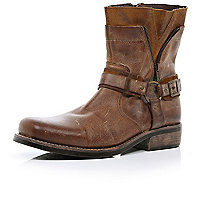 Brown distressed biker boots