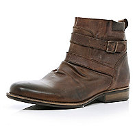 Brown distressed strap biker boots