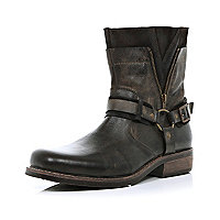 Dark brown distressed biker boots