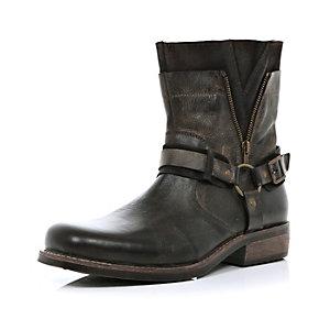 Dark brown distressed biker boots