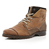 Brown layered distressed biker boots