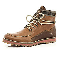 Brown contrast panel worker boots