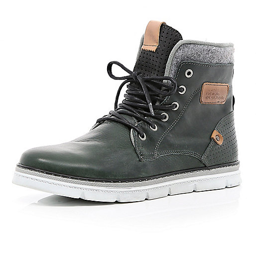 Grey contrast panel chunky sole boots