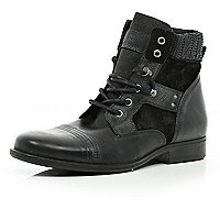Black contrast panel military boots