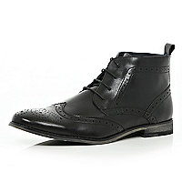 Black lace up brogue boots