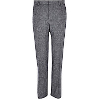 Grey check smart wool-blend slim trousers