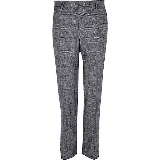 Grey check smart wool-blend slim pants